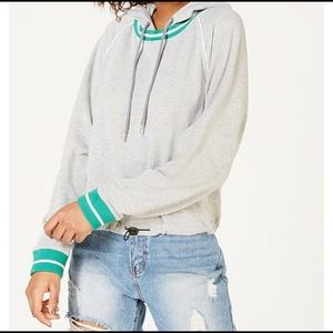 Grey bungee cord hoodie with green trim